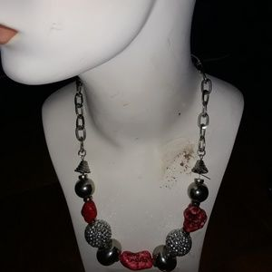 Red pink Necklace